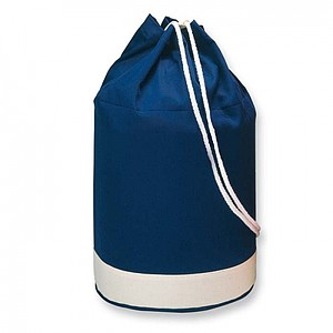 Dvoubarevná námořní bavlněná taška s bílým pruhem, modrá