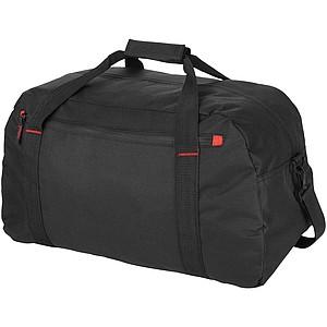 Cestovní taška, černá, červené doplňky