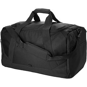 Čtvercová cestovní taška s postranními kapsami na zip, černá