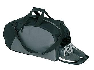 malá sportovní taška s kapsou pro boty 600 D pol.,černá,šedá