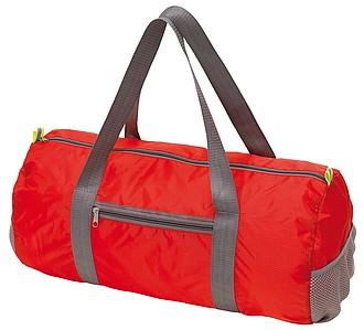 Cestovní taška složitelná do malé kapsy, červená