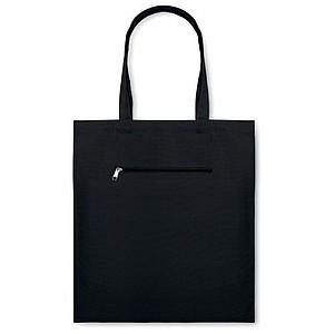 Plátěná nákupní taška s krátkými uchy a kapsou na zip, černá