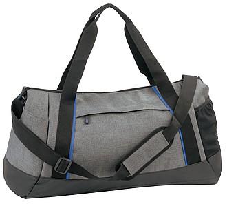 KELEFA Šedá sportovní taška s barevným kontrastem, královská modrá