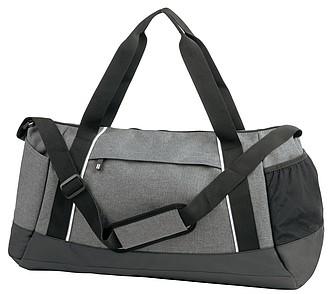 KELEFA Šedá sportovní taška s barevným kontrastem, bílá