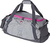 Sportovní taška, dva tóny šedé, s růžovými detaily
