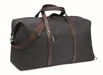 Víkendová taška z plátna s přihrádkou na boty, černá