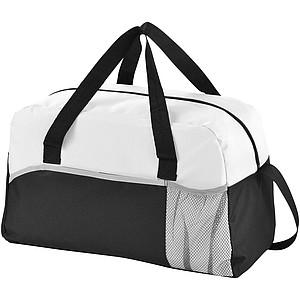 Sportovní taška s přední kapsou na láhev, černá/bílá