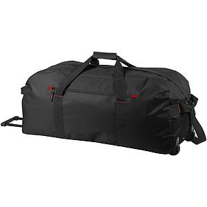 Cestovní taška na kolečkách, černá s červenými detaily