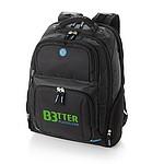Batoh pro laptop, vhodný na cestování letadlem, černá, modrý vnitřek