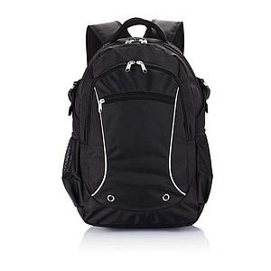 Batoh na laptop s přední kapsou na zip, černá