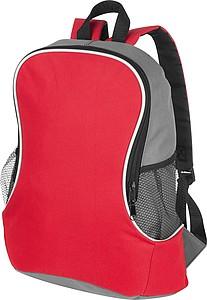 Batoh s postranními síťovanými kapsami, červený