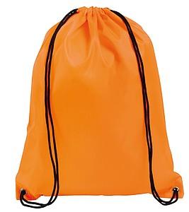 Stahovací pytlík s černou šňůrkou, oranžový