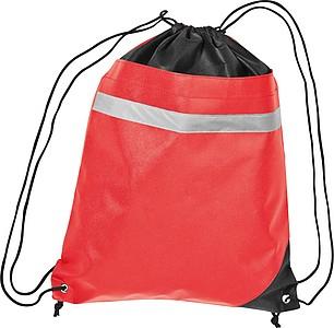 Stahovací batoh s reflexním pruhem, červený