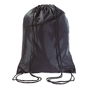 Batoh se šňůrkami a přední kapsou, černý