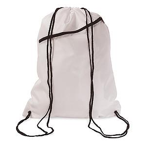 Batoh se šňůrkami a přední kapsou, bílý