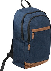 Modrý batoh s hnědými doplňky