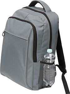 Šedý batoh se síťovanou kapsou na boku