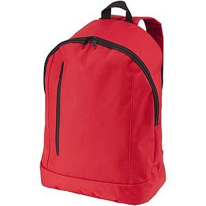 Jednoduchý batoh s přední kapsou a vertikálním zipem, červená