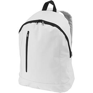Jednoduchý batoh s přední kapsou a vertikálním zipem, bílá