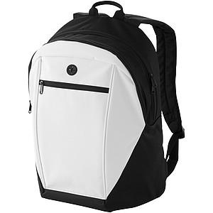 Černý batoh s bílou přední kapsou na zip