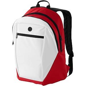 Červený batoh s bílou přední kapsou na zip