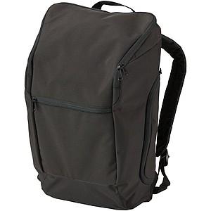 Polyesterový batoh s přední a bočními kapsami na zip, černá