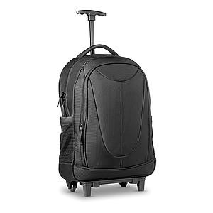 12 palcový batoh s kolečky z 1680D polyesteru s několika oddíly, černá