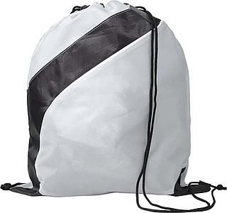 Stahovací batoh s černým pruhem, bílý
