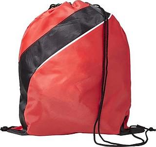 Stahovací batoh s černým pruhem, červený