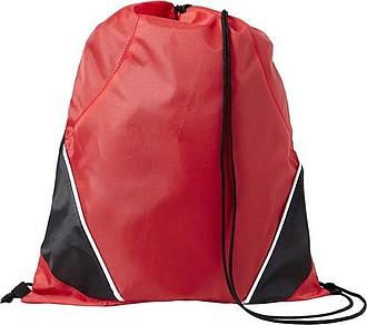 Stahovací batoh s černou šňůrkou, červený