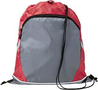 Stahovací batoh se zipem, červený