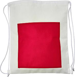 Stahovací batoh z netkané textilie s červenou přední kapsou