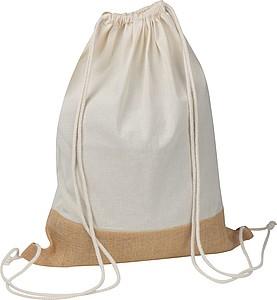 Stahovací batoh, kombinace bavlna a juta
