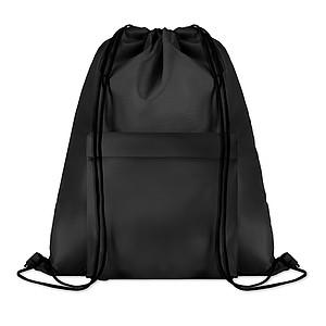 Velký batoh se šňůrkami z polyesteru s přední kapsou na zip, černý