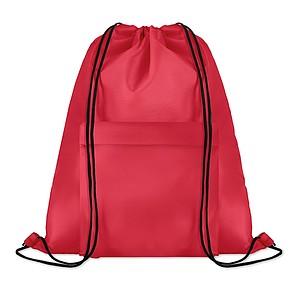 Velký batoh se šňůrkami z polyesteru s přední kapsou na zip, červený