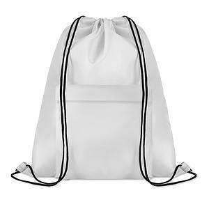 Velký batoh se šňůrkami z polyesteru s přední kapsou na zip, bílý