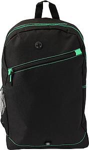 MOZIK Černý batoh se zelenými detaily