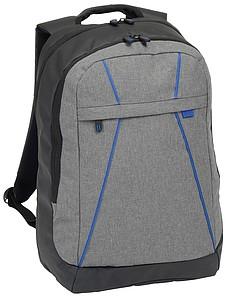 Černošedý batoh s modrými detaily