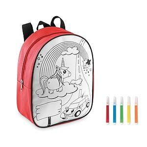 Dětský batoh s obrázkem na vymalování, červený