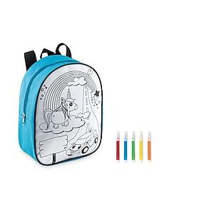 Dětský batoh s obrázkem na vymalování, modrý