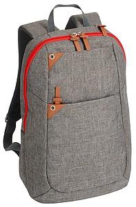 BALATER Šedý batoh na záda s přihrádkou na notebook, s červeným zipem