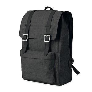 Batoh z dvoubarevného polyesteru s vyztuženým ramenním popruhem, černý