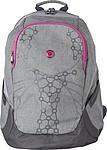 Šedý batoh, dva tóny šedé, růžové detaily