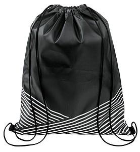 Stahující batoh s reflexním potiskem, černá