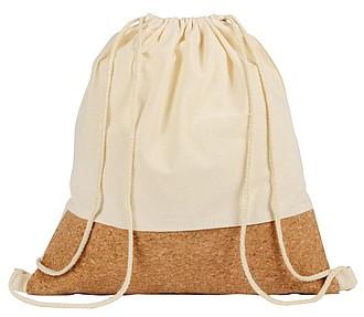 Jednoduchý bavlněný batůžek s korkem, béžová