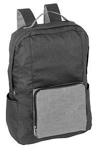 Polyesterový menší pevný batoh s šedou kapsou, černá