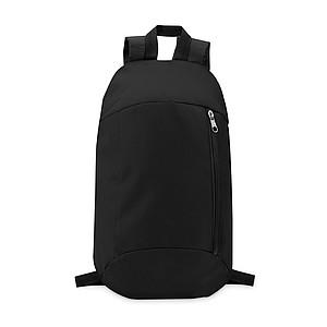 Batoh z polyesteru s kapsou na zip a polstrovanými zády, černý
