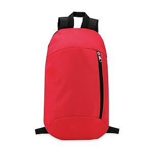 Batoh z polyesteru s kapsou na zip a polstrovanými zády, červený
