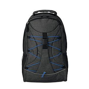 Batoh s kontrastními šňůrkami na přední straně, batoh černý, šňůrky královská modrá