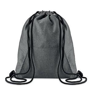 Stahovací batoh s přední kapsou, černý